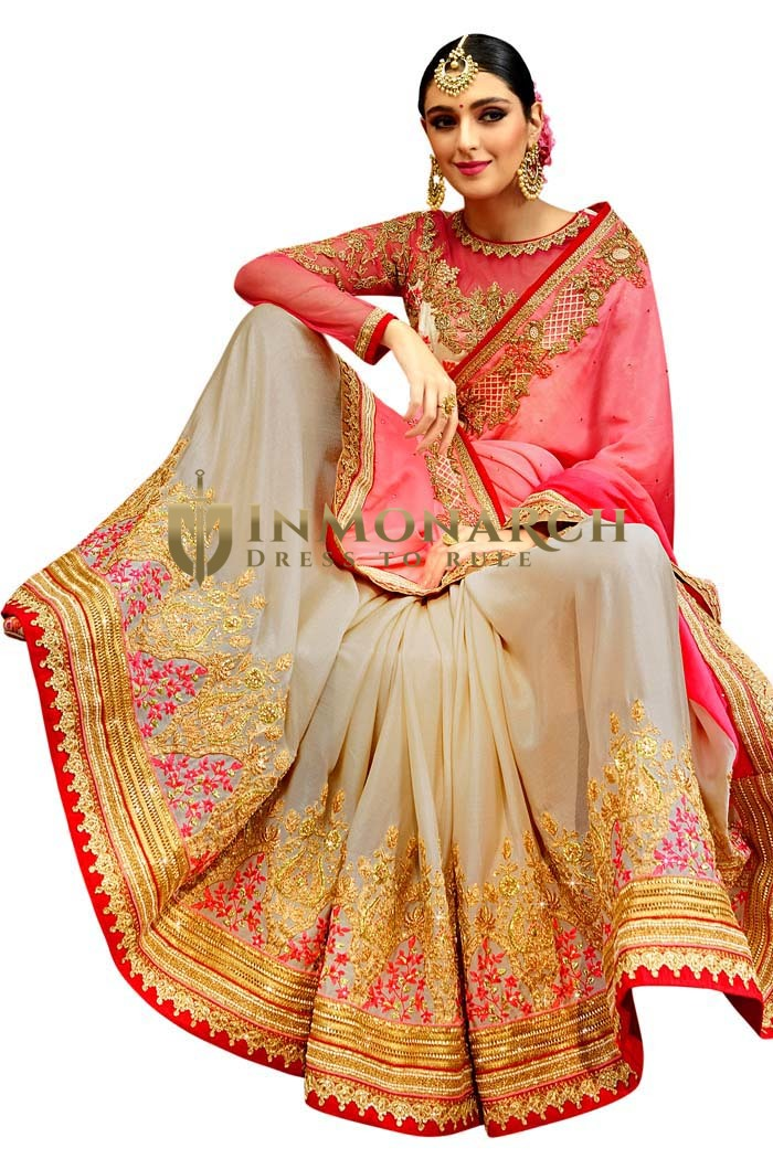 Cream and Pink Partywear Saree