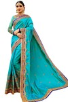 Turquoise Embroidered Silk Wedding Saree