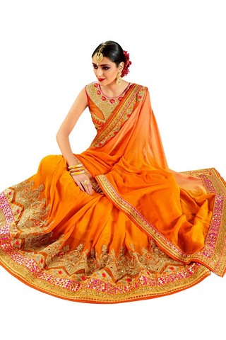 Beautiful Orange Wedding Saree