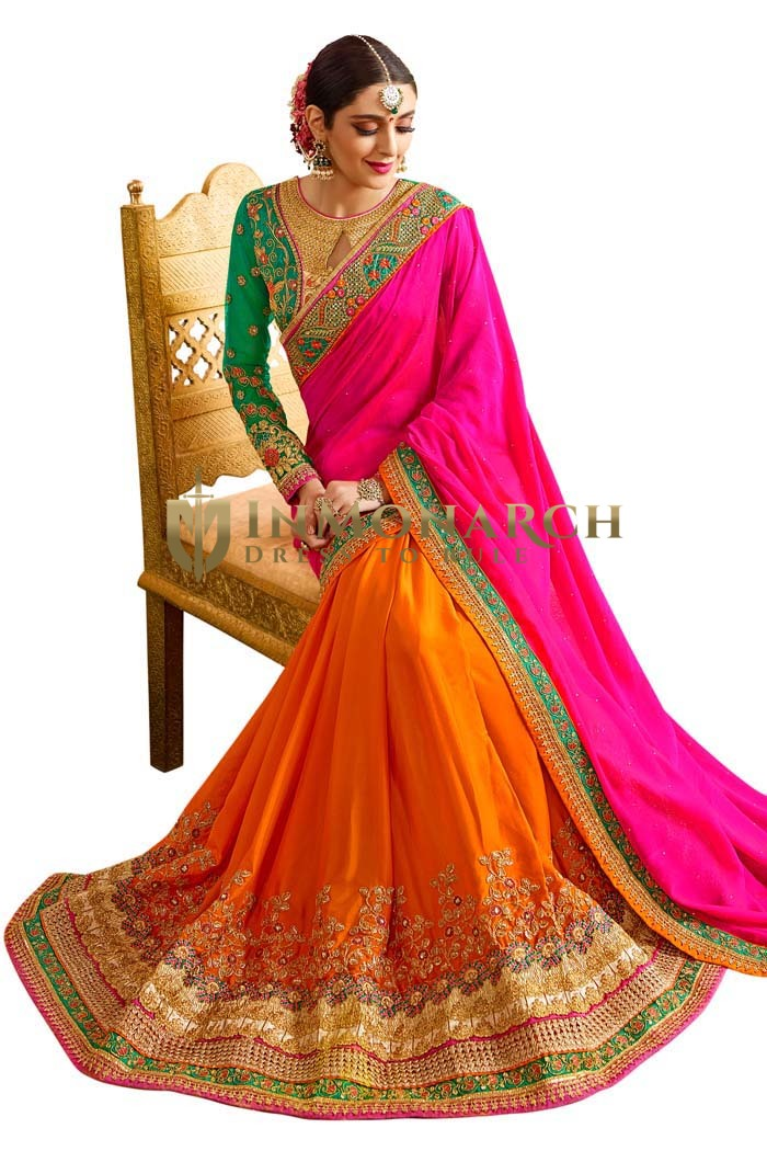 Bollywood Orange Silk Partywear Saree
