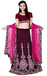 Purple Velvet and Net Lehenga Choli
