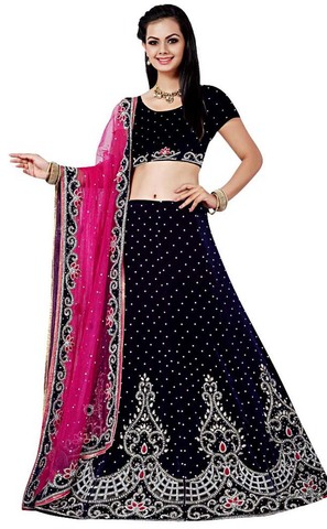 Embroidered Navy Blue Velvet Lehenga