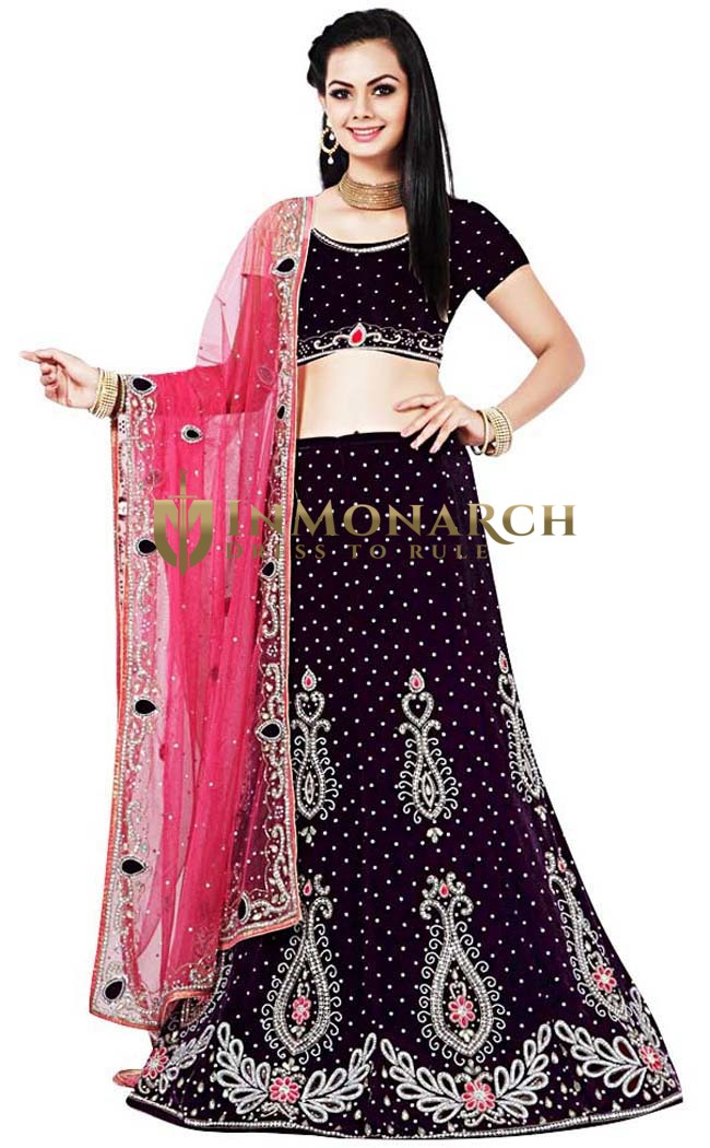 Dark Purple Velvet Lehenga Choli