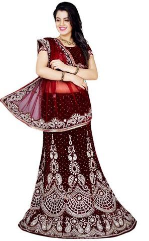 Fashionable Maroon Bridal Lehenga