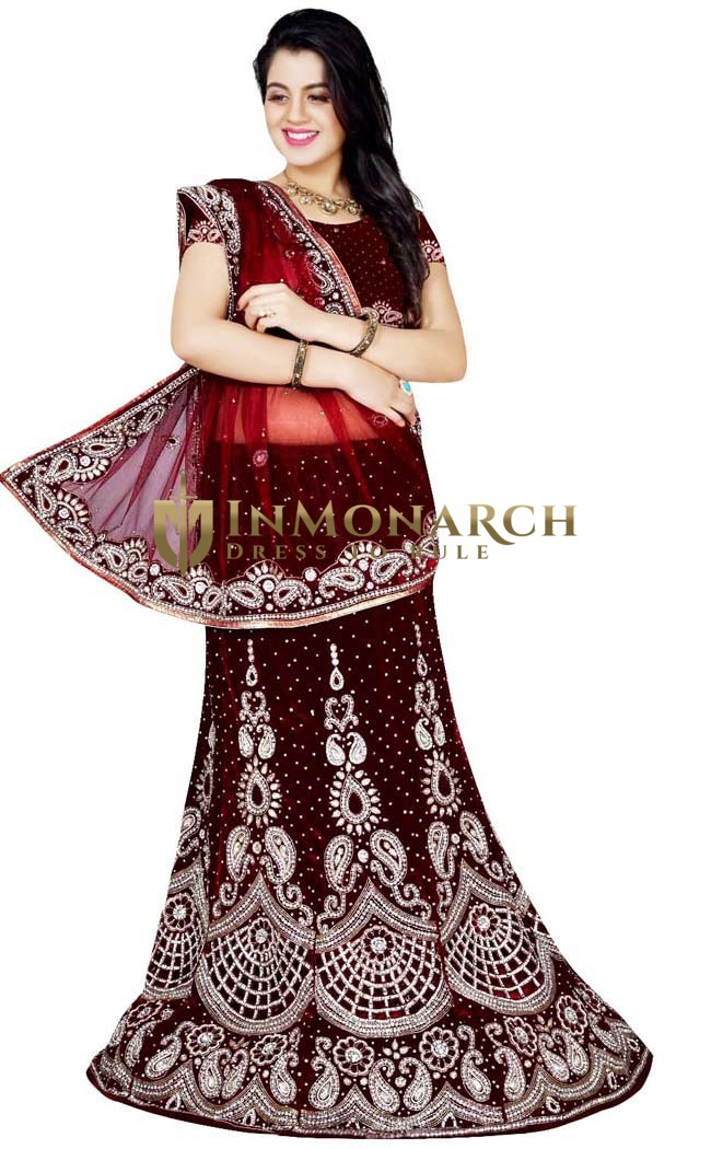 Fashionable Maroon Bridal Lehenga