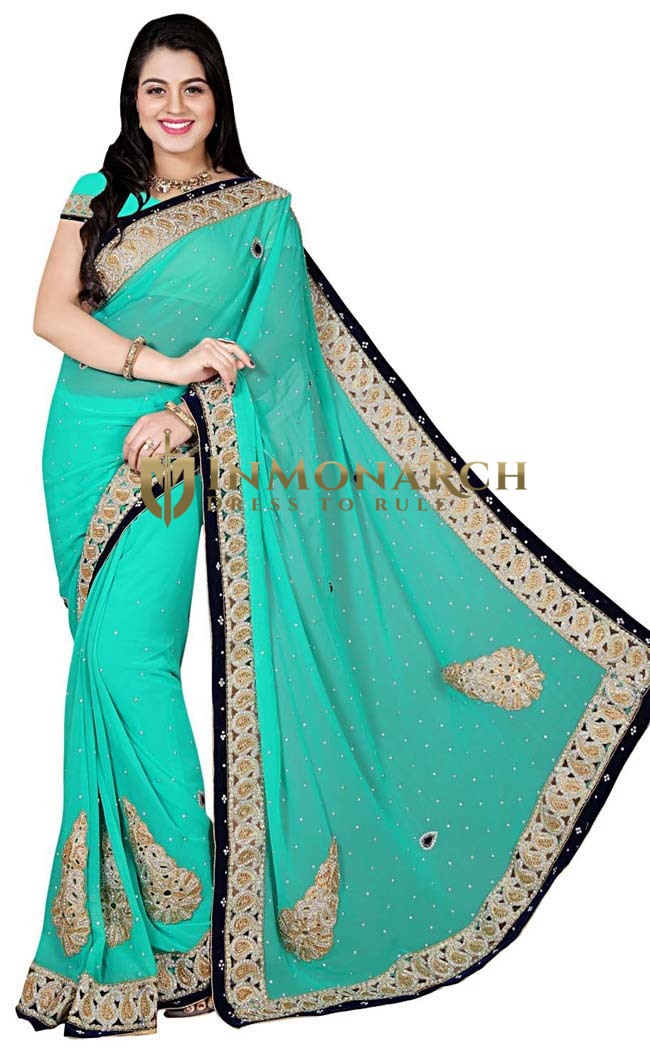 Turquoise Georgette Wedding Saree