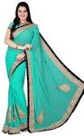 Turquoise Georgette Wedding Saree