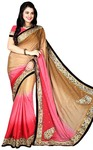 Shaded Beige and Pink Bridal Saree