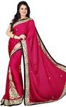 Crimson Satin Chiffon Partywear Saree