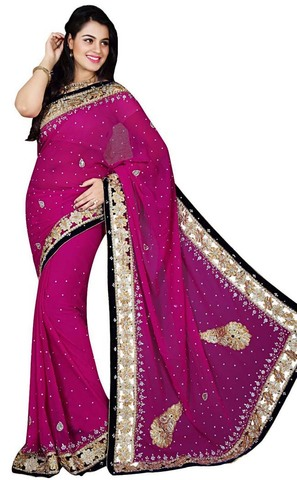 Indian Purple Georgette Bridal Saree