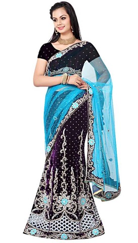Embroidered Regency Velvet Lehenga Saree