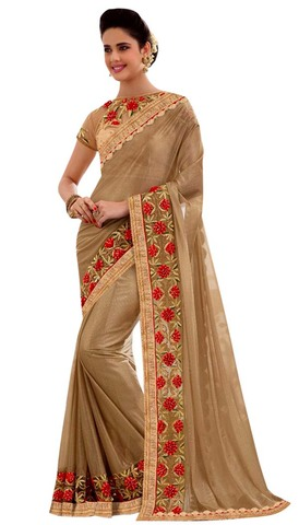 Fancy Beige Embroidered Partywear Saree