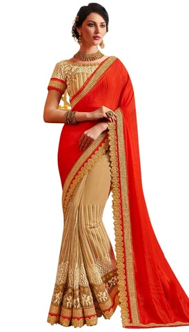 Peach and Orange Red Bollywood Saree