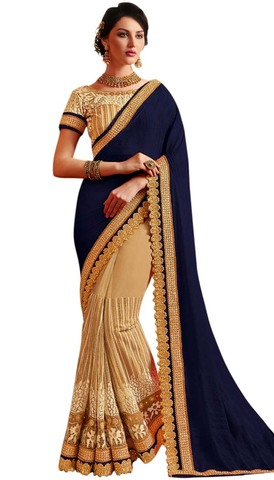 Peach and Navy Blue Wedding Saree