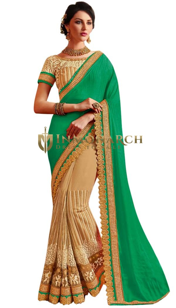 Peach and Green Indian Wedding Saree