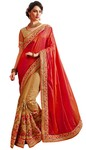 Beige and Red Embroidered Saree