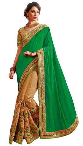 Designer Beige and Green Bollywood Sari