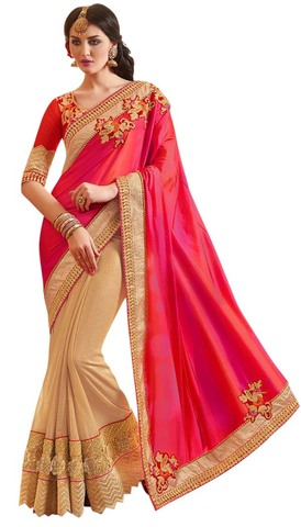 Beige and Crimson Designer Bridal Saree