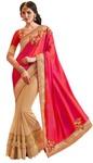 Beige and Crimson Designer Bridal Saree