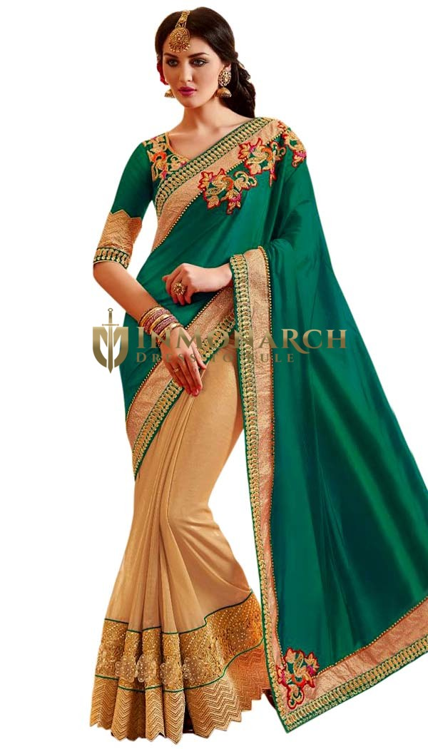 Beige and Teal Designer Bridal Saree