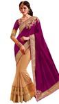 Latest Beige and Purple Partywear Saree