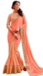 Traditional Peach Partywear Saree