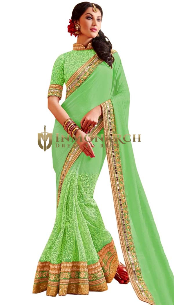Fashionable Light Green Partywear Saree