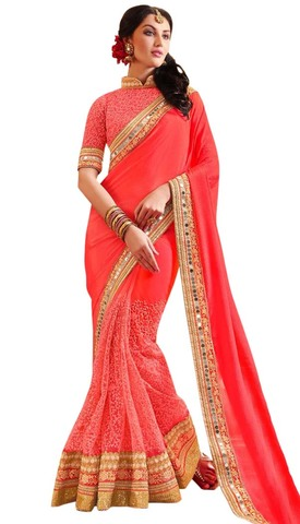 Engagement Coral Pink Partywear Saree