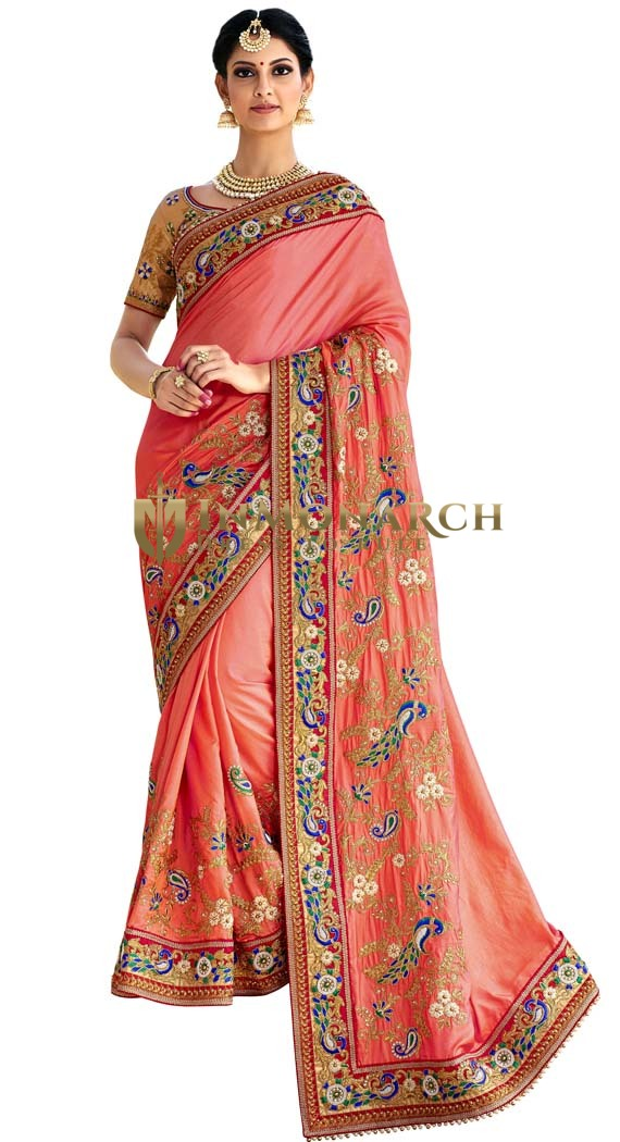 Designer Peach Satin Silk Partywear Saree