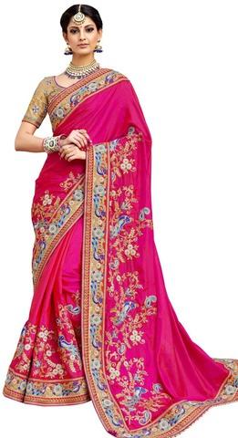 Magenta Satin Silk Partywear Saree