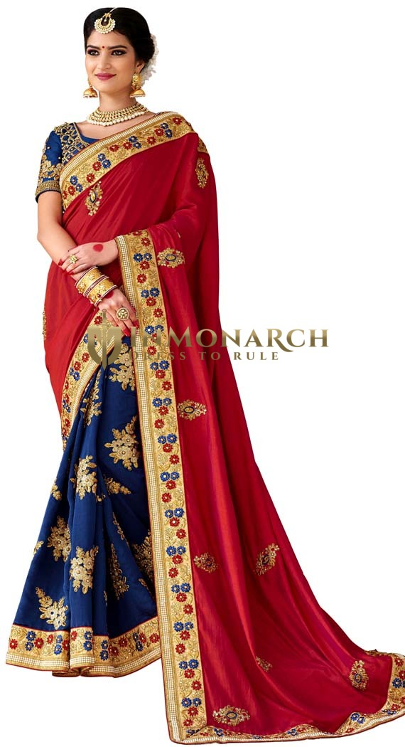 Dark Navy and Maroon Partywear Saree