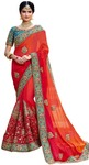 Crimson and Red Georgette Bridal Saree