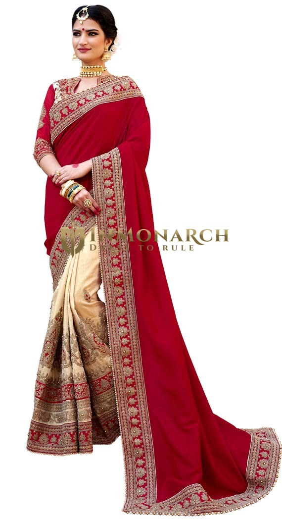 Beige and Crimson Partywear Saree