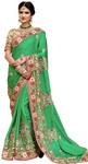 Light Green Faux Gerogette Wedding Saree