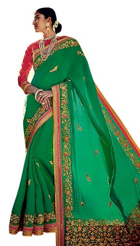 Designer Green Art Silk Partywear Saree
