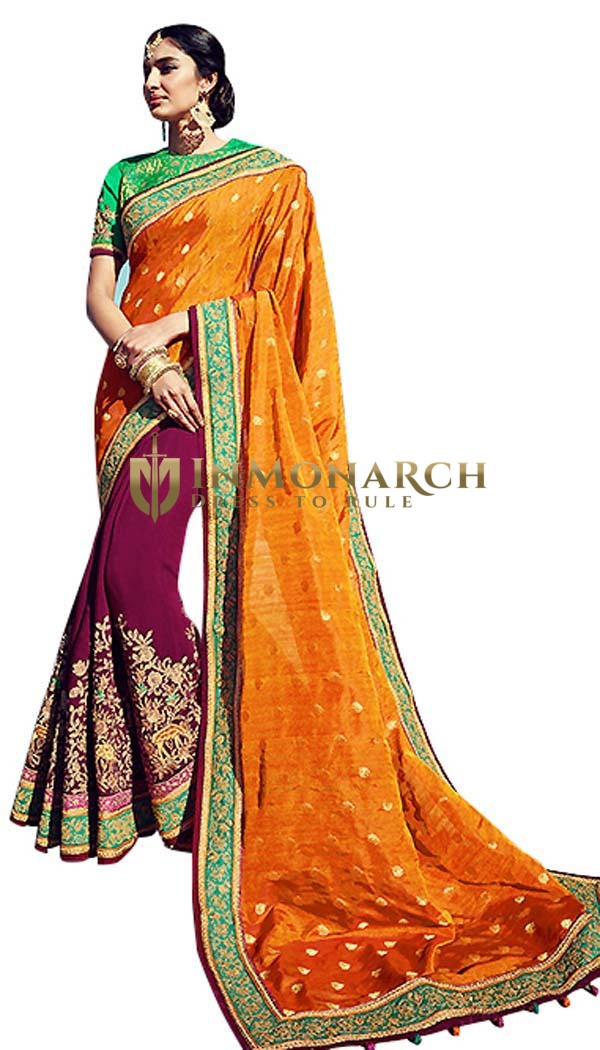 Half n Half Magenta and Rust Designer Saree