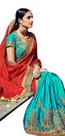 Turquoise and Crimson Jacquard Chiffon Saree