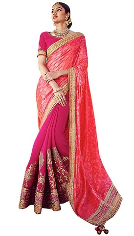 Magenta and Salmon Wedding Saree