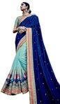 Cyan Jacquard Art Silk Partywear Saree