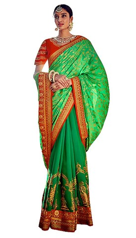 Half and Half Green Partywear Saree