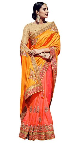 Salmon Jacquard Chiffon Bollywood Saree