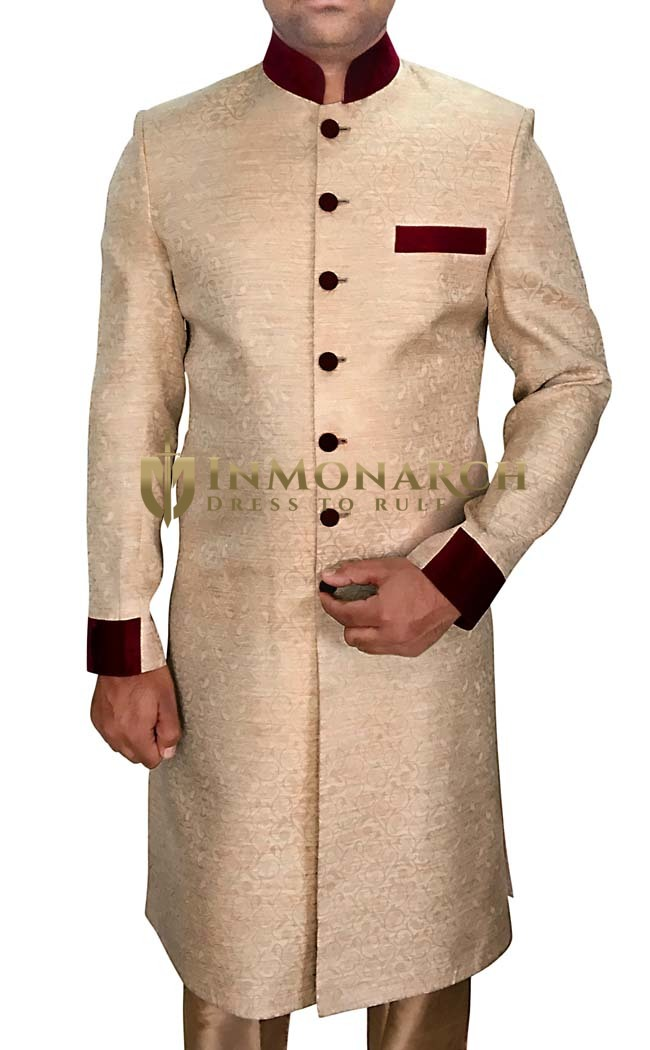 Mens Beige 2 Pc Wedding Sherwani Patch Work