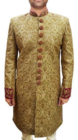 Mens Golden 2 Pc Wedding Sherwani Machine Embroidered