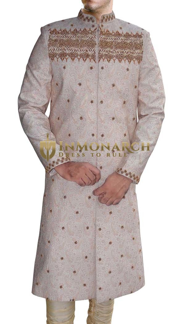 Mens Cream 2 Pc Sherwani Tempting