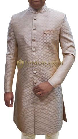 Mens Ivory 2 Pc Sherwani Wedding Wear