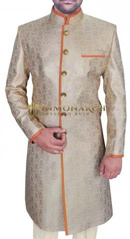 Mens Ivory 2 Pc Wedding Sherwani Trimming