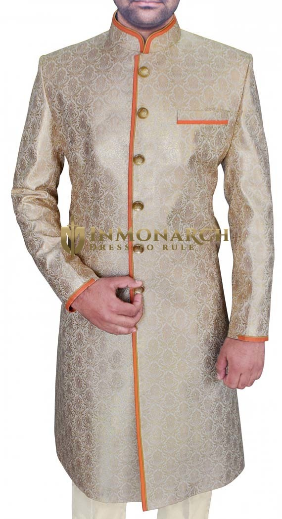 Mens Tan 2 Pc Sherwani Classic Look