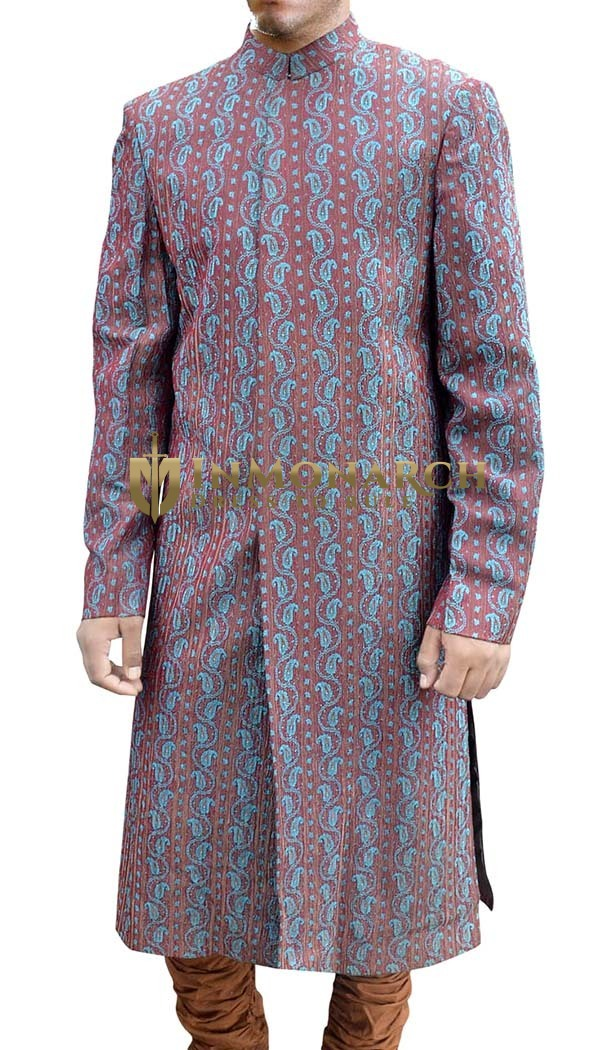Mens Burgundy Brocade 2 Pc Sherwani Trendy Look