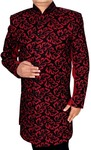 Mens Crimson 2 Pc Sherwani Black Embroidery