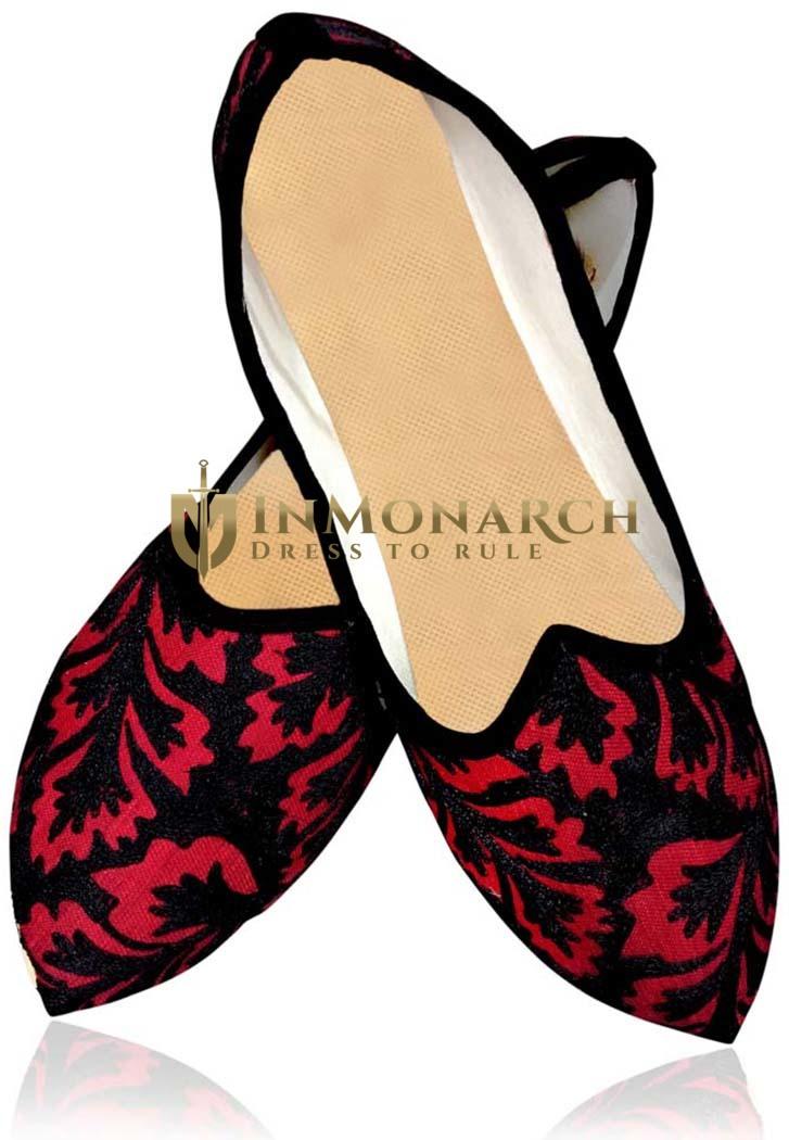 Mens Black and Crimson Wedding Shoes